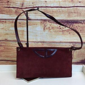 Vintage Christian Dior Maroon Suede Clutch / Bag